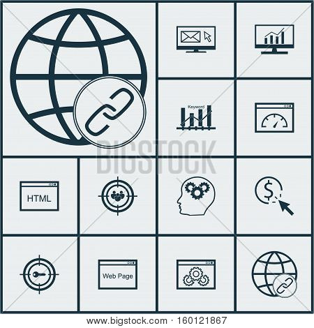 Set Of 12 SEO Icons. Can Be Used For Web, Mobile, UI And Infographic Design. Includes Elements Such As Pay, HTML, Brain And More.