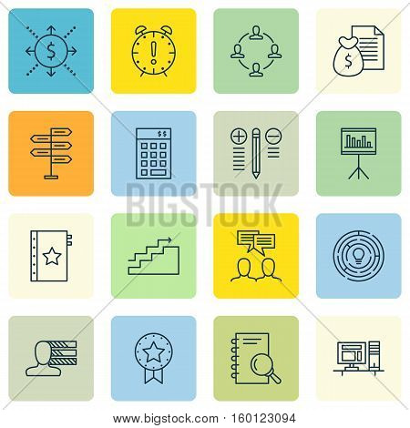 Set Of 16 Project Management Icons. Can Be Used For Web, Mobile, UI And Infographic Design. Includes Elements Such As Statistic, Solution, Finance And More.
