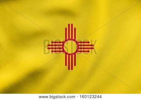 Flag Of New Mexico Waving, Real Fabric Texture