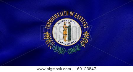 Flag Of Kentucky Waving, Real Fabric Texture