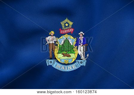 Flag Of Maine Waving, Real Fabric Texture