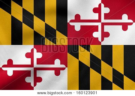 Flag Of Maryland Waving, Real Fabric Texture