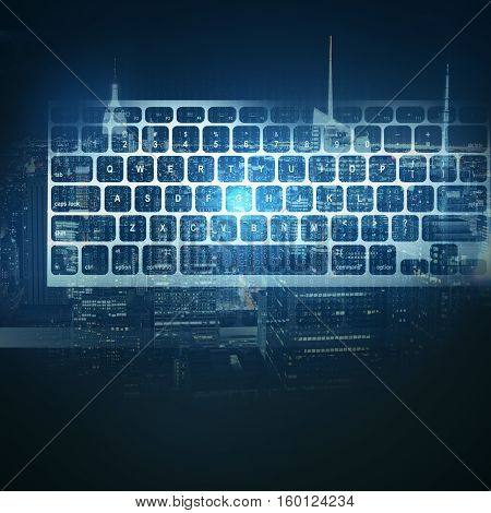 Abstract keyboard on night city background. Technology concept. Double exposure