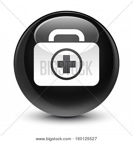 First Aid Kit Icon Glassy Black Round Button