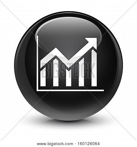 Statistics icon isolated on abstract glassy black round button