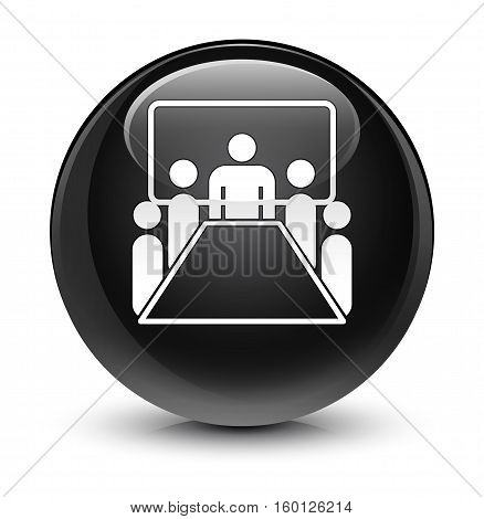 Meeting room icon isolated on abstract glassy black round button