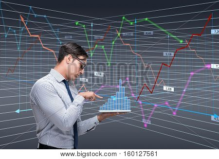 Businessman trader in stock exchange concept