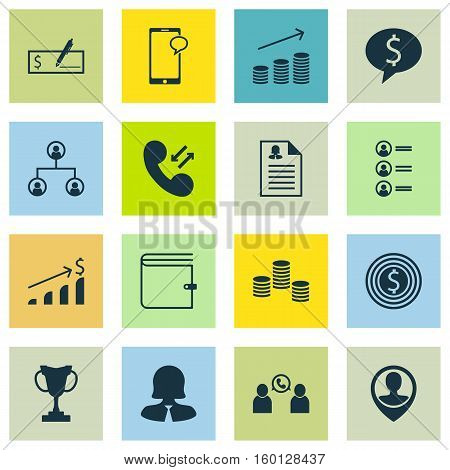 Set Of 16 Management Icons. Can Be Used For Web, Mobile, UI And Infographic Design. Includes Elements Such As Money, User, Success And More.