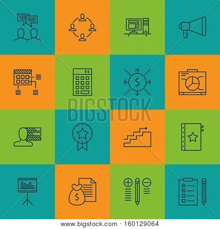 Set Of 16 Project Management Icons. Can Be Used For Web, Mobile, UI And Infographic Design. Includes Elements Such As Cash, Office, Award And More.
