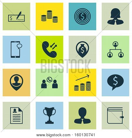 Set Of 16 Human Resources Icons. Can Be Used For Web, Mobile, UI And Infographic Design. Includes Elements Such As Call, Cellular, Increase And More.