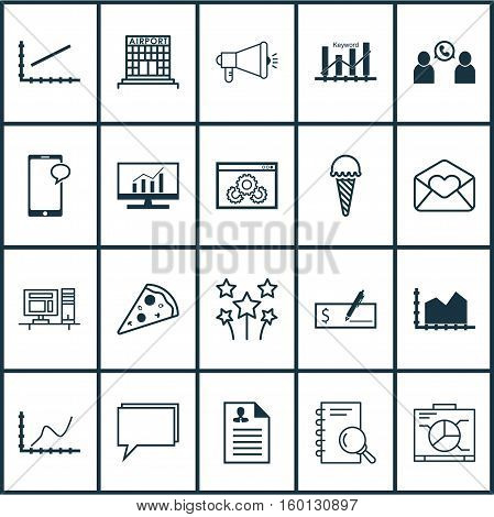 Set Of 20 Universal Editable Icons. Can Be Used For Web, Mobile And App Design. Includes Elements Such As Website Performance, Board, Computer And More.