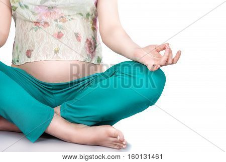 Pregnant Woman. Relaxation, Meditation.stock Photo - Yoga, Yoga