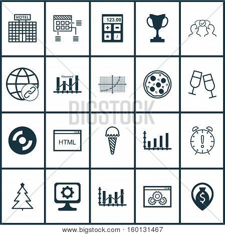 Set Of 20 Universal Editable Icons. Can Be Used For Web, Mobile And App Design. Includes Elements Such As Decorated Tree, Champagne Glasses, Dynamics And More.