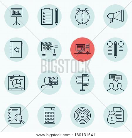 Set Of 16 Project Management Icons. Can Be Used For Web, Mobile, UI And Infographic Design. Includes Elements Such As Idea, Statistics, Advertising And More.