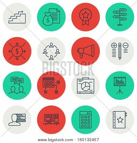 Set Of 16 Project Management Icons. Can Be Used For Web, Mobile, UI And Infographic Design. Includes Elements Such As Announcement, Project, Making And More.