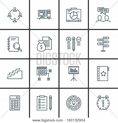 Set Of 16 Project Management Icons. Can Be Used For Web, Mobile, UI And Infographic Design. Includes Elements Such As Computer, Budget, Workspace And More.
