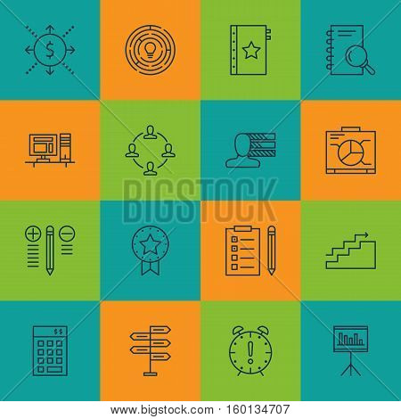 Set Of 16 Project Management Icons. Can Be Used For Web, Mobile, UI And Infographic Design. Includes Elements Such As Personal, Cash, Team And More.