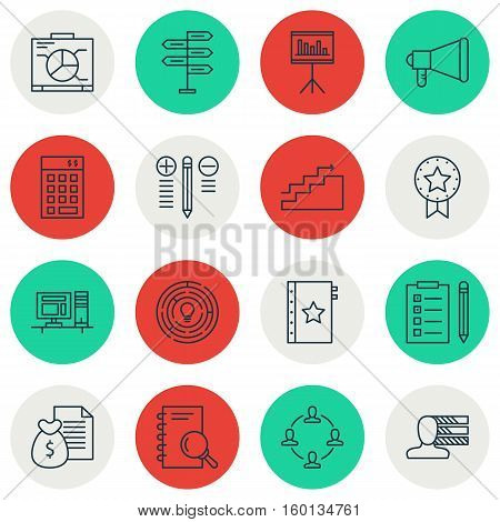 Set Of 16 Project Management Icons. Can Be Used For Web, Mobile, UI And Infographic Design. Includes Elements Such As Idea, Analysis, Right And More.