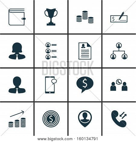 Set Of 16 Human Resources Icons. Can Be Used For Web, Mobile, UI And Infographic Design. Includes Elements Such As Call, Check, Application And More.