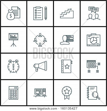 Set Of 16 Project Management Icons. Can Be Used For Web, Mobile, UI And Infographic Design. Includes Elements Such As Announcement, Statistic, Analysis And More.