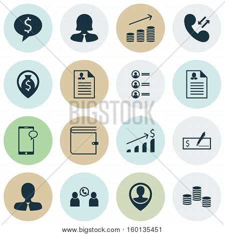 Set Of 16 Hr Icons. Can Be Used For Web, Mobile, UI And Infographic Design. Includes Elements Such As Resume, Dollar, Job And More.