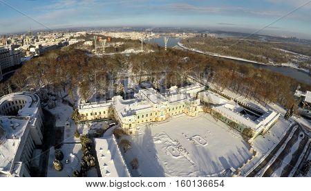 Kiev winter, Mariinsky palace, aerial view,
