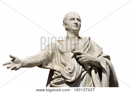 Cicero the greatest ancient roman orator marble statue in front of Rome Old Palace of Justice made in 19th century (isolated on white background)
