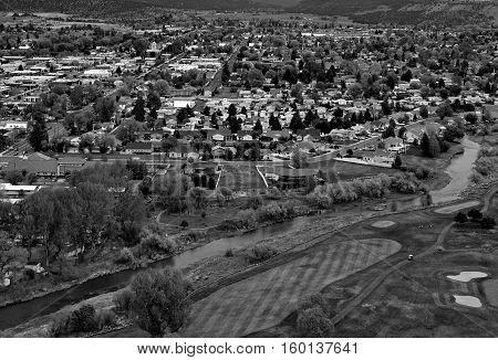 View of the town Prineville in Central Oregon from the State Park on top of Ochoco Butte on a spring afternoon.