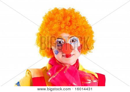 Girl Clown In Colorful Costume