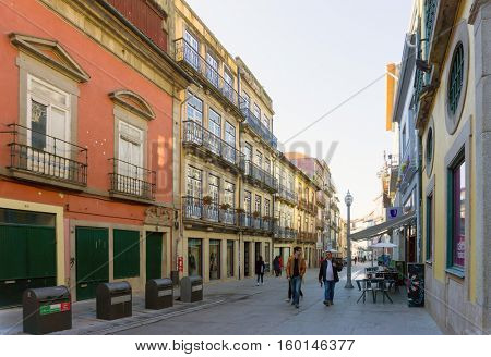 PORTO, PORTUGAL - November 18, 2016. Tourists on foot Graben Street in Porto, Portugal, Europe, is the second largest city in Portugal, has a population of 1.4 million.