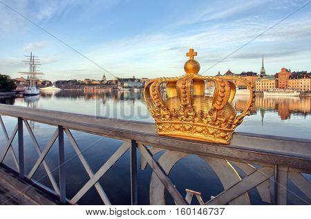 Golden Crown on a Skeppsholmsbron bridge, Stockholm, Sweden