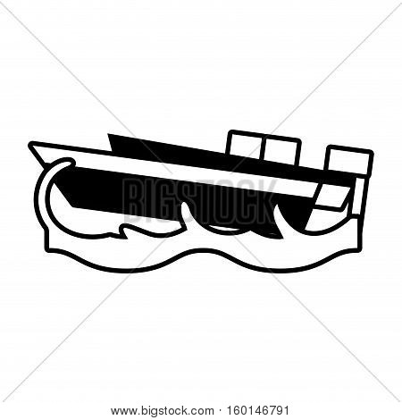 outline yacht boat beach sea wave vector illustration eps 10