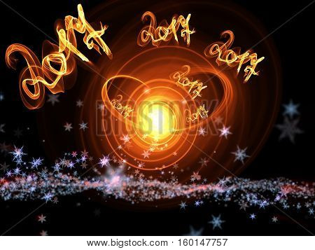 Happy New Year 2017 Isolated Numbers Lettering Written With Fire Flame Or Smoke On Black Background