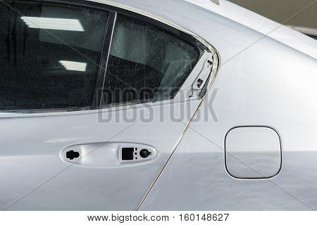 Auto body repair series : Masked car before repaint