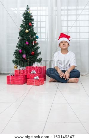Asian Chinese Little Boy Posing With Christmas Gift Box