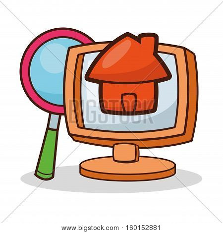 Computer and lupe cartoon icon. Device technology and gadget theme. Isolated design. Vector illustration