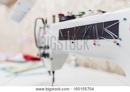 Sewing Machine Tailor Garment Equipment Clothes Seamstress Workshop Concept
