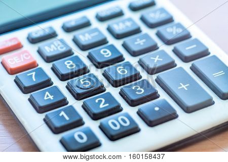 Office Calculator Close Up: Making Calculations, Savings, Finances and Economy Concept, Calculating Bills in Home Office, Mathematics, Accounting, Financial, Counting Profit, Income, Taxes