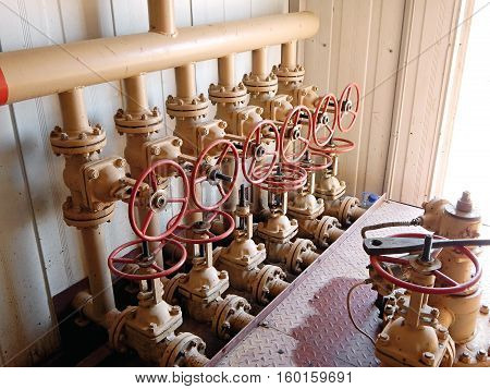 Group of valves. Node collection and accounting of oil.