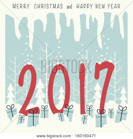Numbers two, zero ,one ,seven red standing in the snow in a forest . on the snow lie gift boxes with gifts. In the top of the image and the icicles and phrase merry Christmas and a happy New year.