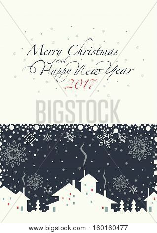 The cover design. Depicts a village.  Phrase merry Christmas and a happy New year and numbers: two, zero, one ,seven on the white background.