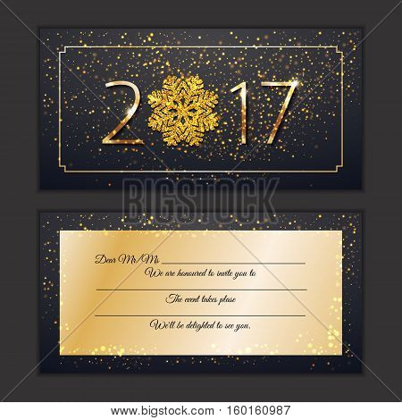 Happy New Year 2017 Invite Card. Gretings Vip Celebrate New Year Personal Invitation Sparkling Golde