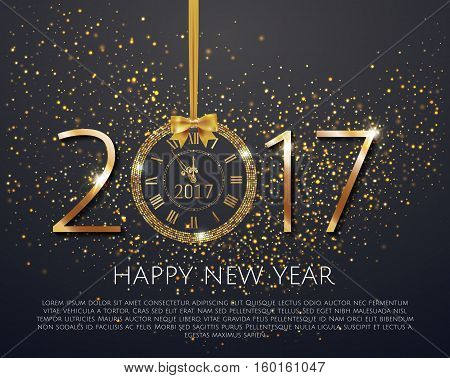 Vector 2017 Shiny New Year Clock In Gold Disco Circle Frame On Black Background. Vintage Elegant Lux