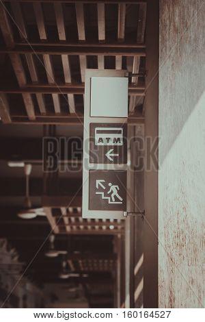 Sign and Symbol for ATM cash in vintage effect.