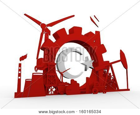 Energy and Power icons set with Turkey flag element. Sustainable energy generation and heavy industry. 3D rendering