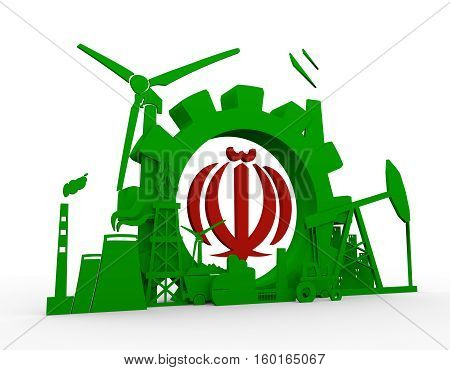 Energy and Power icons set with Iran flag element. Sustainable energy generation and heavy industry. 3D rendering