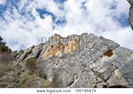 La Yecla Gorge, Burgos, Spain. It is a deep and narrow gorge modelled in limestone materials