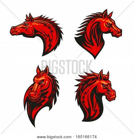 Angry horse mascot set with red flaming mustang or stallion with aggressive glare and tribal ornamental mane. Sporting team mascot, tattoo, equestrian competition design
