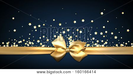 Blue festive banner with stars and golden bow. Vector illustration.