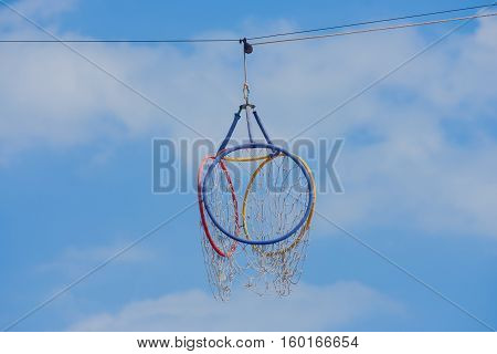 Hoop Takraw Lod with blue sky background at public park..